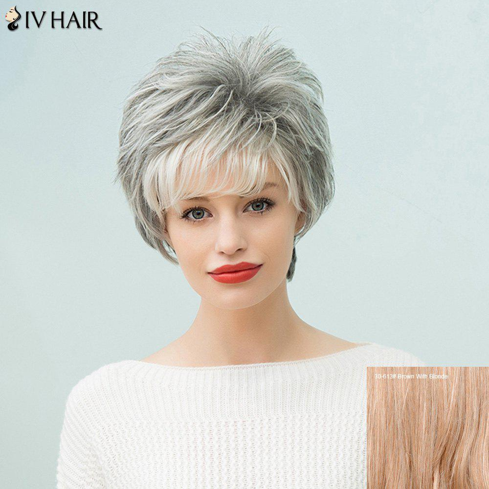 Siv Hair Capless Short Fluffy Human Hair Wig - BROWN/BLONDE