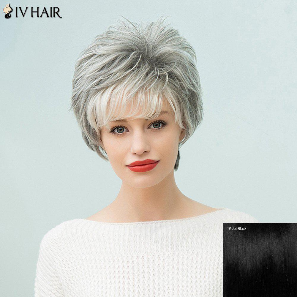 Siv Hair Capless Short Fluffy Human Hair Wig - JET BLACK