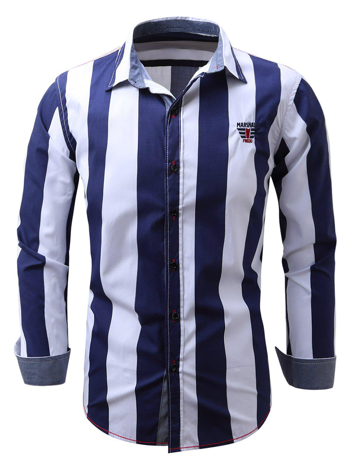 Embroidered Design Vertical Striped Shirt - PURPLISH BLUE XL