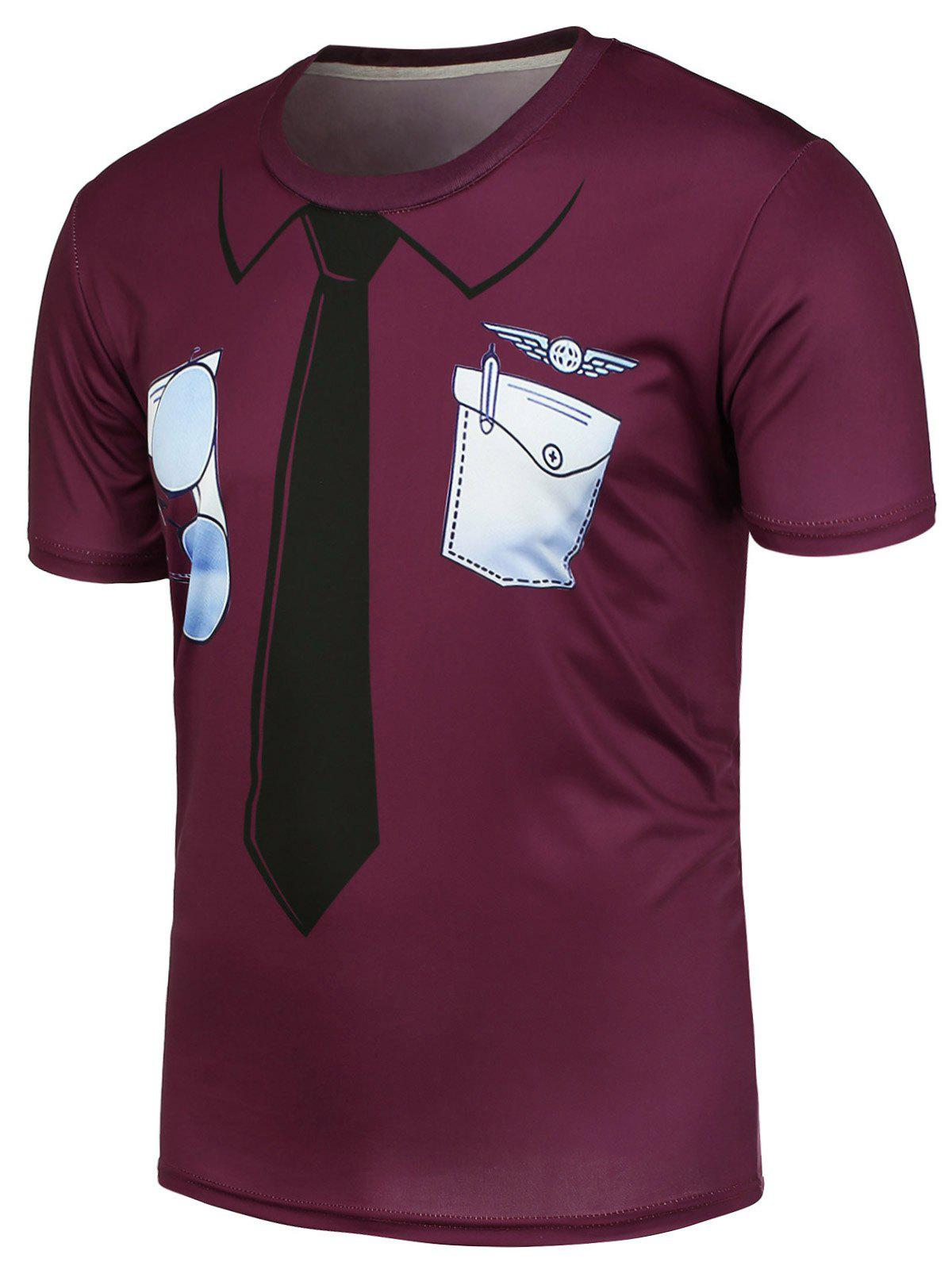 3D Tie and Pocket Printed Crew Neck T-Shirt