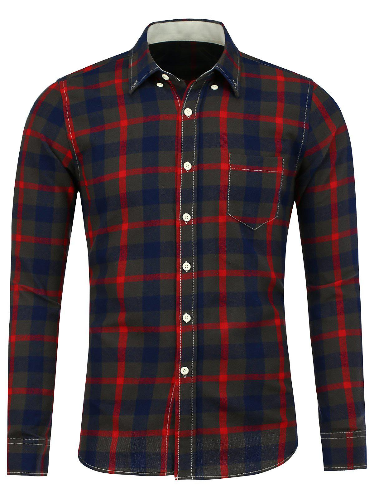 Button Down Breast Pocket Plaid Shirt - RED 5XL