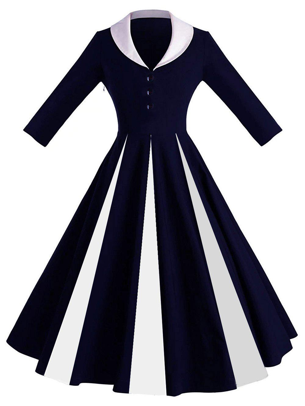 Color Block Shawl Collar Pin Up Dress - DEEP BLUE 2XL