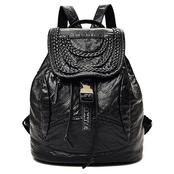 Braided Faux Leather Backpack - BLACK