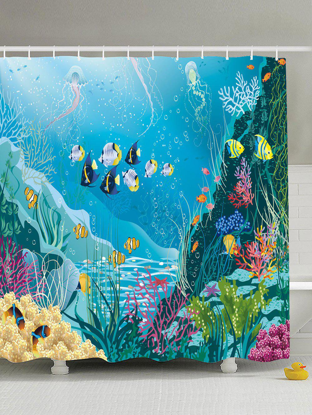 Sea World Print Extra Long Eco-Friendly Shower Curtain sea scenic eco friendly polyester shower curtain
