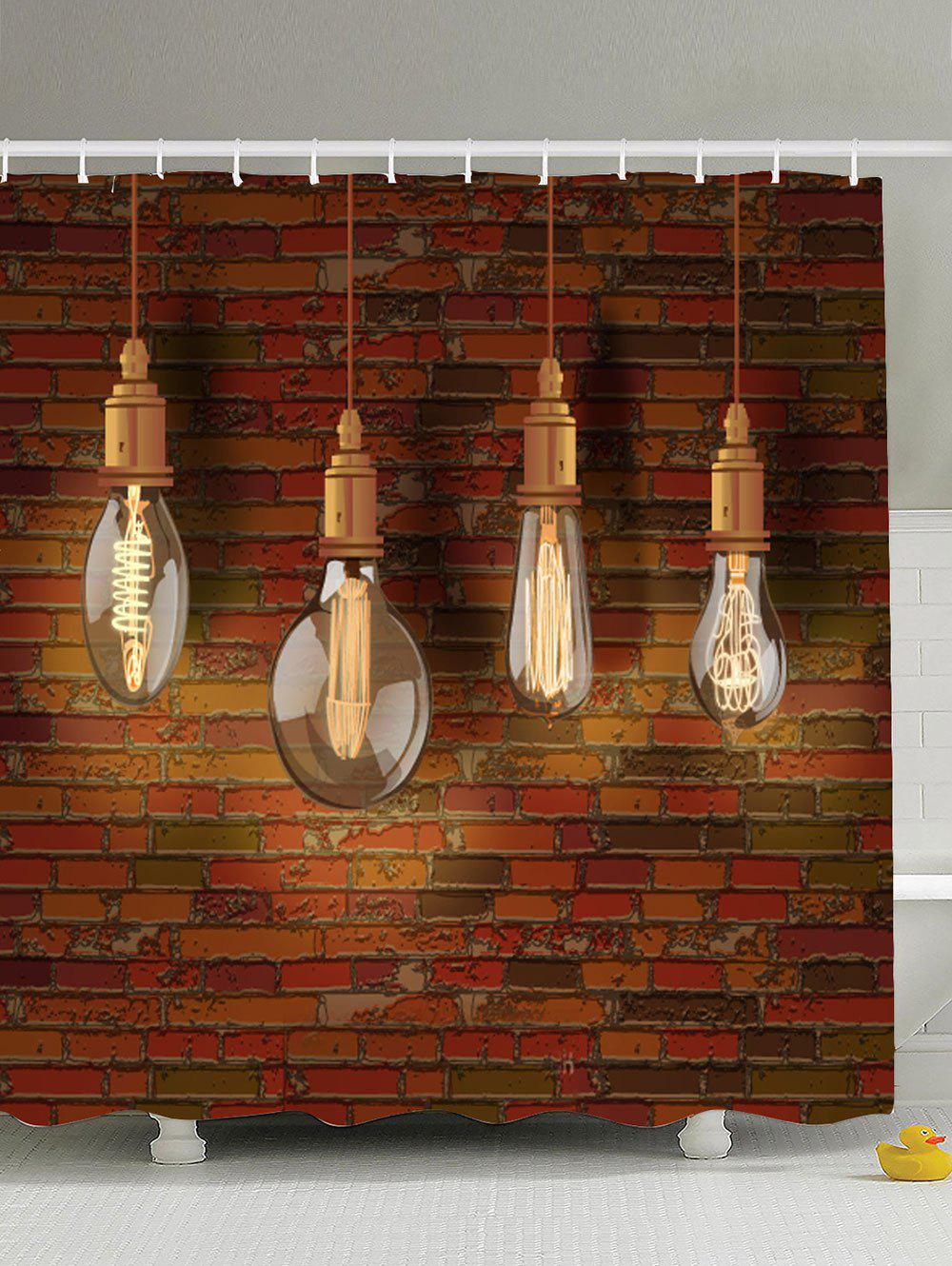 Eco-Friendly Hanging Bulbs Print Bathroom Shower Curtain brick wall design eco friendly shower curtain