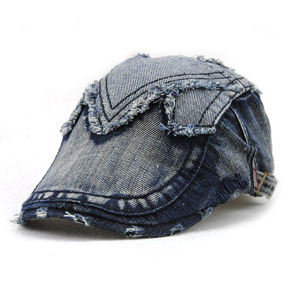 Stylish Rag and Broken Hole Embellished Do Old Denim Fabric Cabbie Hat - DEEP BLUE