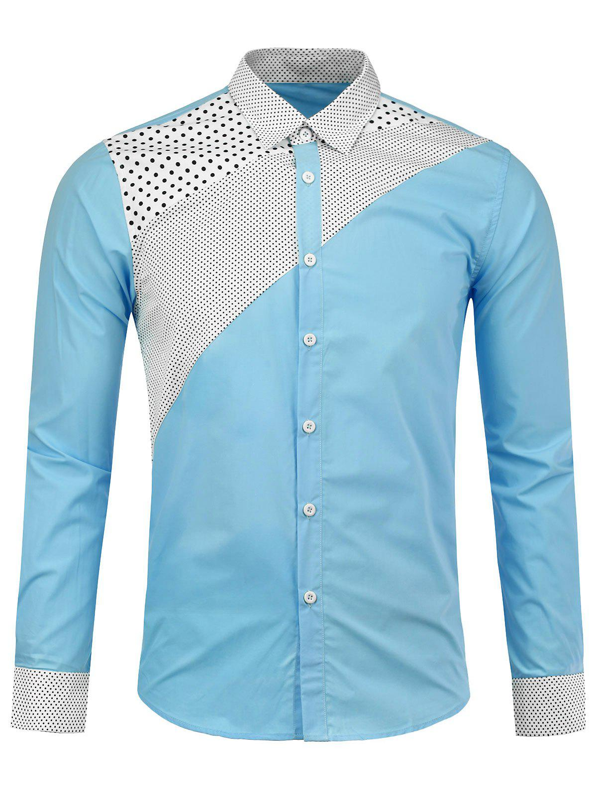 Long Sleeve Polka Dot Insert Shirt - AZURE L