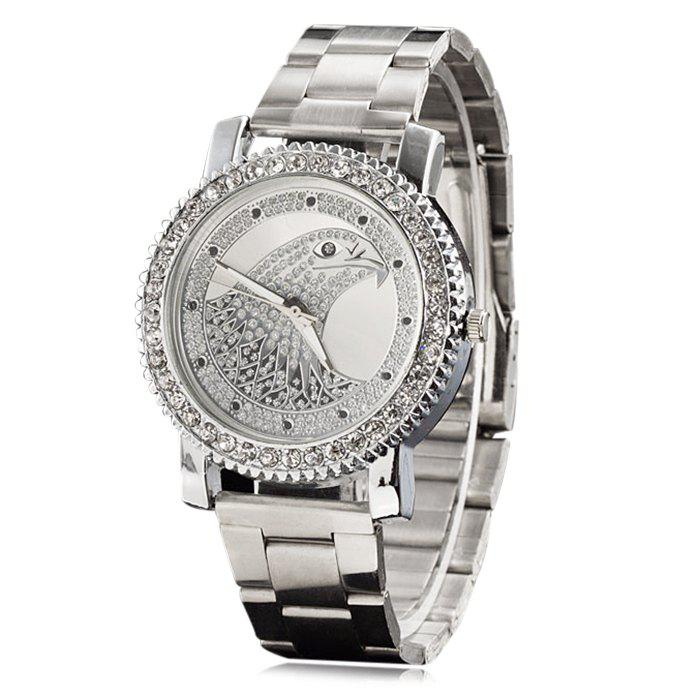 Rhinestone Eagle Head Analog Watch - SILVER