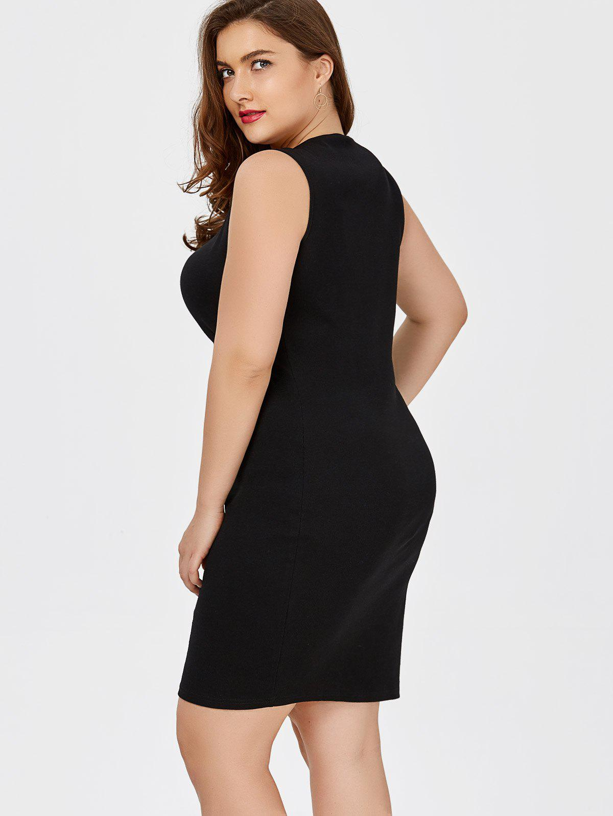 2018 Plus Size Short Sheath Tank Fitted Dress BLACK XL In ...