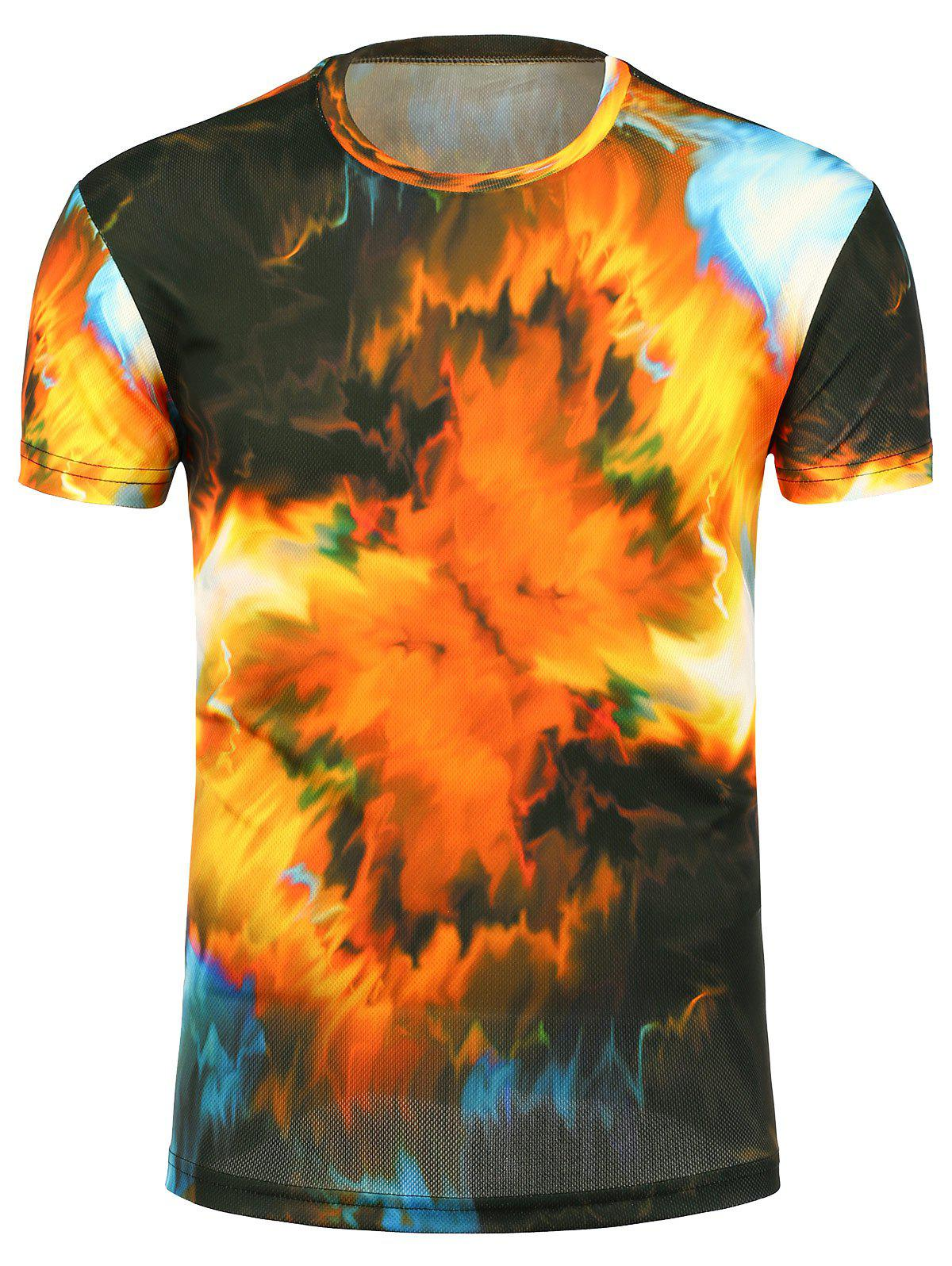 3D Tie Dye Print Crew Neck Trippy T-Shirt 3d galaxy print crew neck trippy t shirt