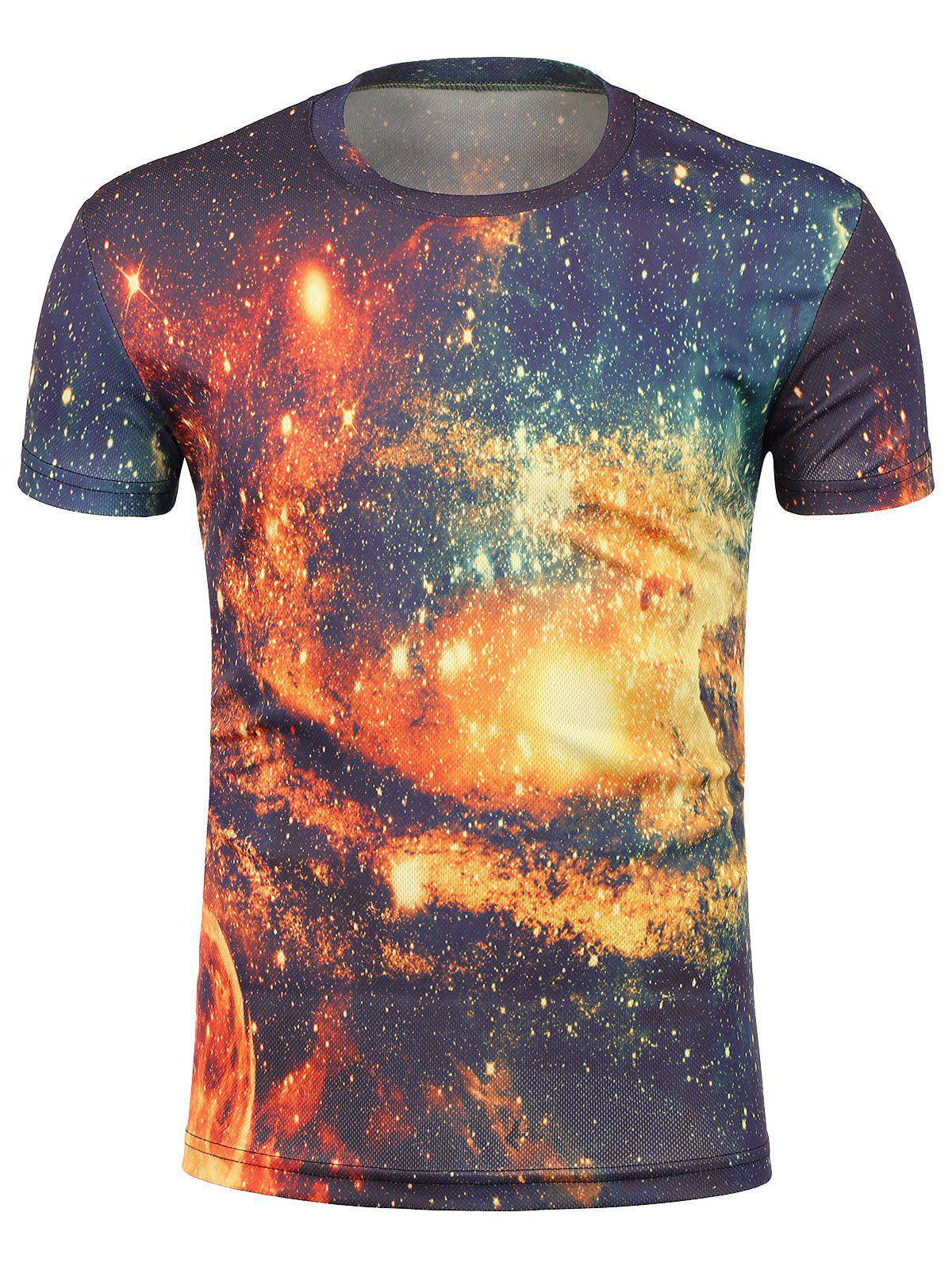3D Galaxy Print Crew Neck Trippy T-Shirt 3d galaxy print crew neck trippy t shirt