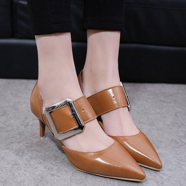 Pointed Toe Buckle Strap Pumps - BROWN 37