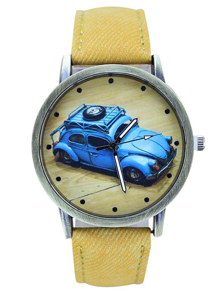 Faux Leather Cartoon Car Analog Watch - YELLOW