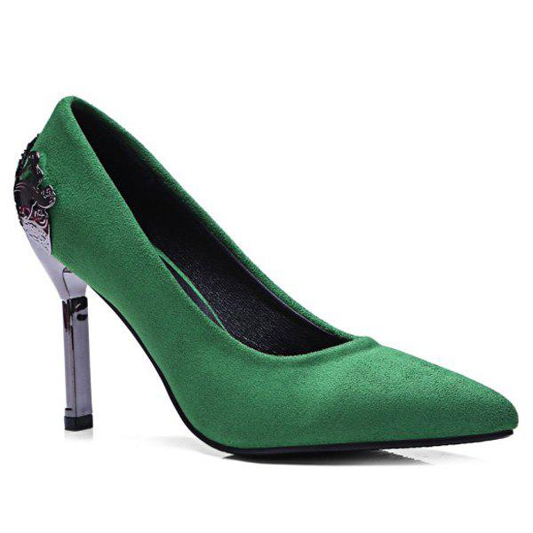 Pointed Toe Metal Embellishment Pumps - GREEN 39