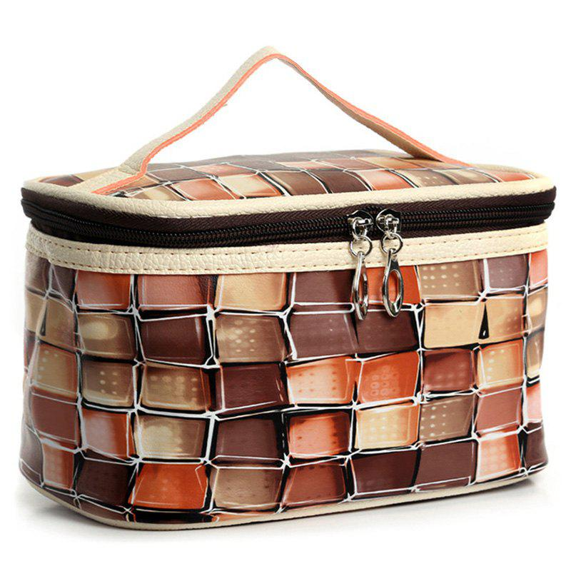 Couleur Blocage Zip Around Cosmetic Bag - Café Clair