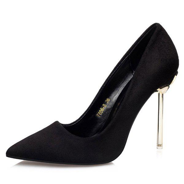 Mini Heel Pointy Pumps - BLACK 37