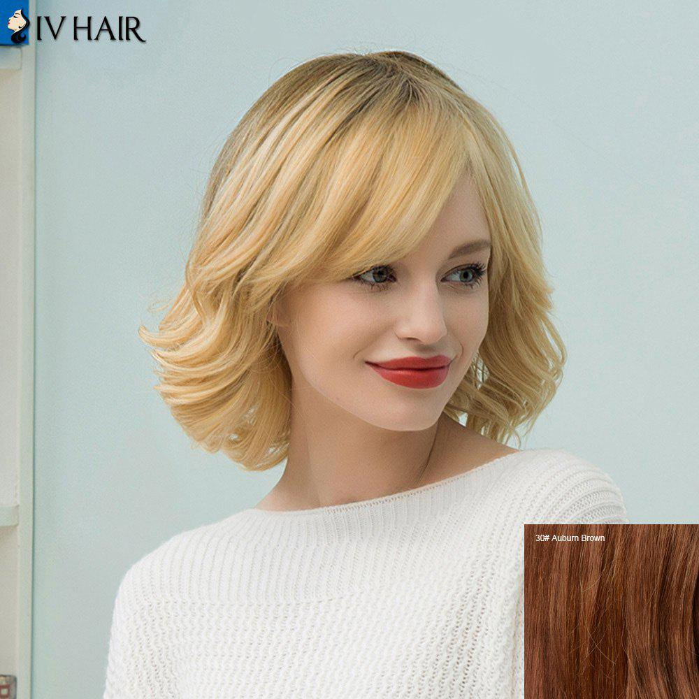 Siv Hair Medium Slightly Curly Tail Upwards Bob Human Hair Wig - AUBURN BROWN