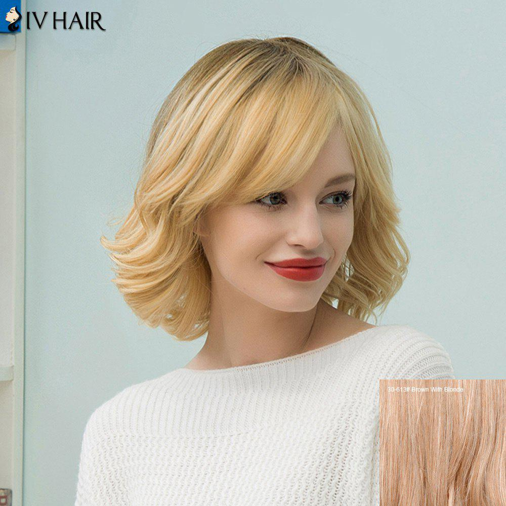 Siv Hair Medium Slightly Curly Tail Upwards Bob Human Hair Wig - BROWN/BLONDE