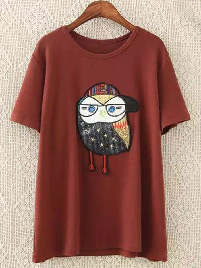 Beaded Patched Plus Size Tee plus girl print beaded tee