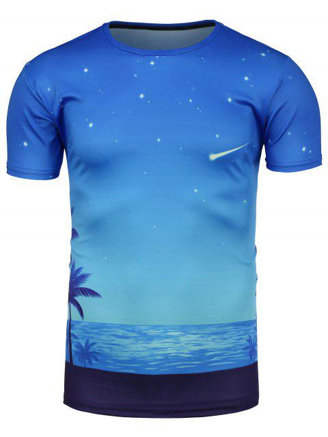 3D Starry Sky Beach Print Hawaiian T-Shirt - COLORMIX 3XL