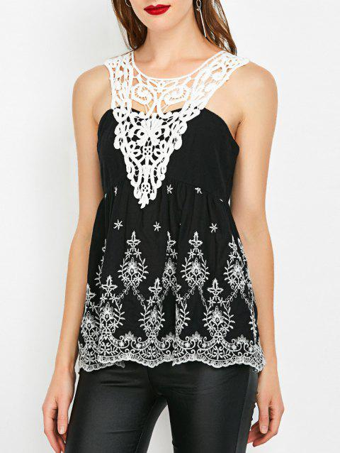 Crochet Trim Shirred Sleeveless Blouse - WHITE/BLACK L