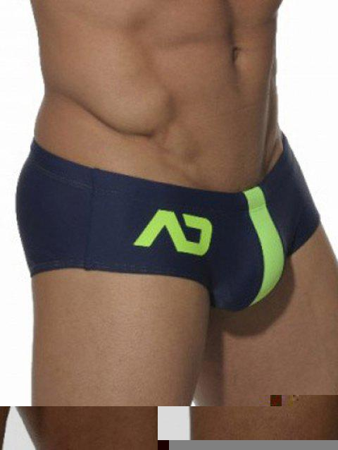 Color Block Printed Swimming Briefs - CERULEAN XL