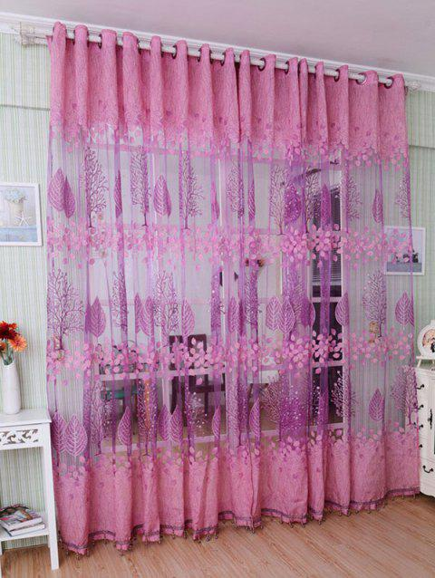 Leaf Embroidery Fabric Sheer Tulle Curtain For Living Room - PINK 100*200CM