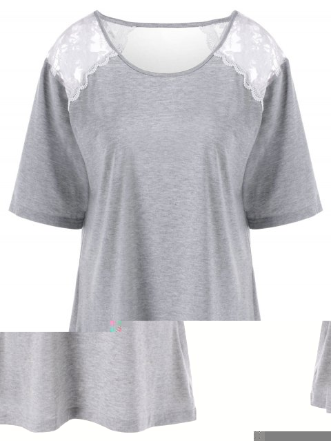 Plus Size Lace Trim Cut Out T-Shirt - LIGHT GRAY 4XL