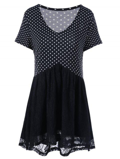 Plus Size Polka Dot Lace Trim T-Shirt - WHITE/BLACK 4XL
