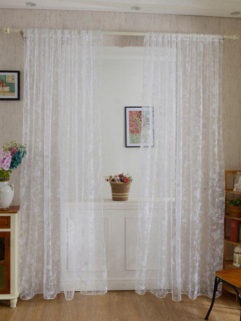 2Pcs/Set Butterflies Embroidery Window Sheer Tulle Curtain - WHITE 100*200CM (2PCS/SET)