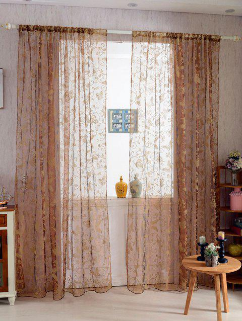 2Pcs/Set Butterflies Embroidery Window Sheer Tulle Curtain - LIGHT COFFEE 100*200CM(2PCS/SET)