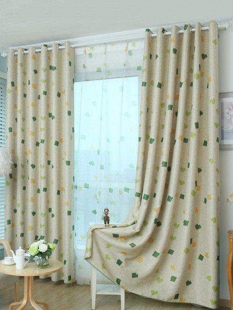 Grommet Top Window Curtain Blackout Screening - Vert Jaune 100*250CM