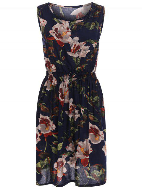 Stretch Waist Sundress with Floral Print - BLACK ONE SIZE