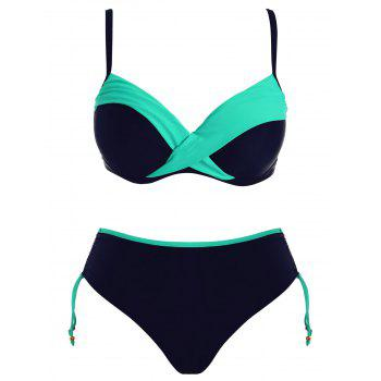 Plus Size Adjustable Strap Two Tone Bikini