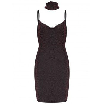 Lurex Spaghetti Straps Party Dress with Chokers