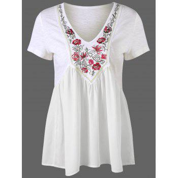 Embroidery Trim High Waist Peplum T-Shirt
