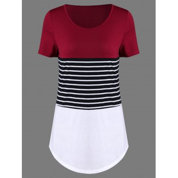 Striped Trim Longline Curved T-Shirt