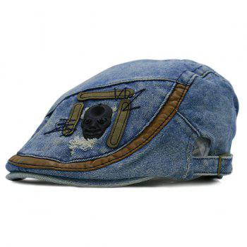 Frayed Denim Skull Embellished Cabbie Hat