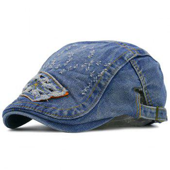 Letters Frayed Pattern Denim Flat Hat
