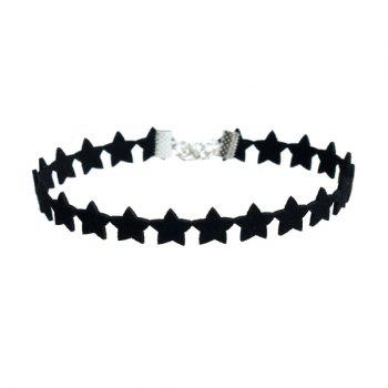 Artificial Suede Tandem Pentagram Choker Necklace