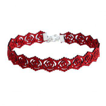 Hollow Out Rose Engraving Faux Suede Choker