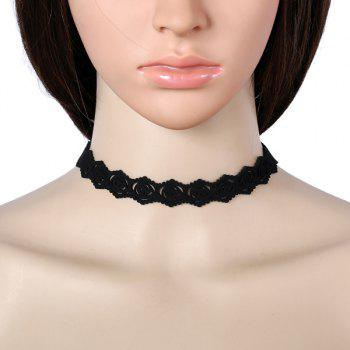 Hollow Out Rose Engraving Faux Suede Choker - BLACK