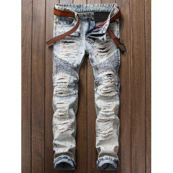 Distressed Paint Splatter Biker Jeans