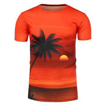 Beach Sunset Print Hawaiian T-Shirt