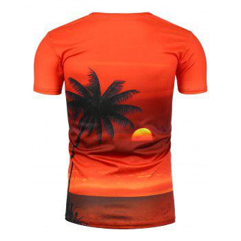 Beach Sunset Print Hawaiian T-Shirt - COLORMIX 3XL
