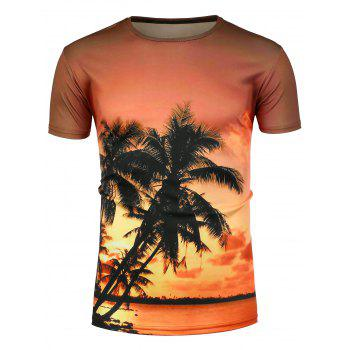 Short Sleeve 3D Palm Sunset Hawaiian T-Shirt