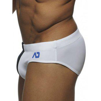 Drawstring Waist Color Block Swim Briefs - WHITE WHITE
