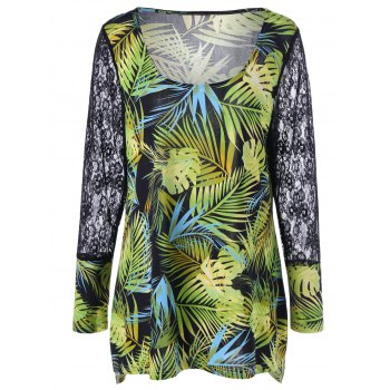Plus Size Tropical Leaf Printed Hawaiian T-Shirt