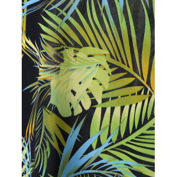 Plus Size Tropical Leaf Printed Hawaiian T-Shirt - LIGHT GREEN LIGHT GREEN