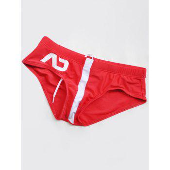 Color Block Printed Swimming Briefs - RED XL